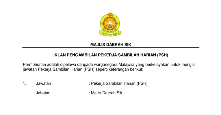 Jawatan Kosong di Majlis Daerah Sik 2019