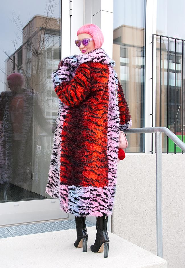 shaggy fur coat, tiger print coat, kenzo x h&m