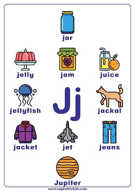 English alphabet poster - letter J