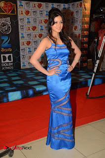 Actress Harshika Poonacha Pictures in Blue Long Dress At Devi Sri Prasad Live Show  0007