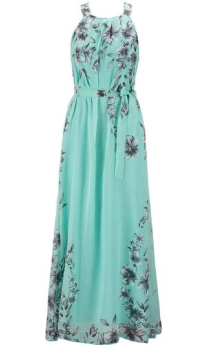 Floral Printed Chiffon Beach Dress