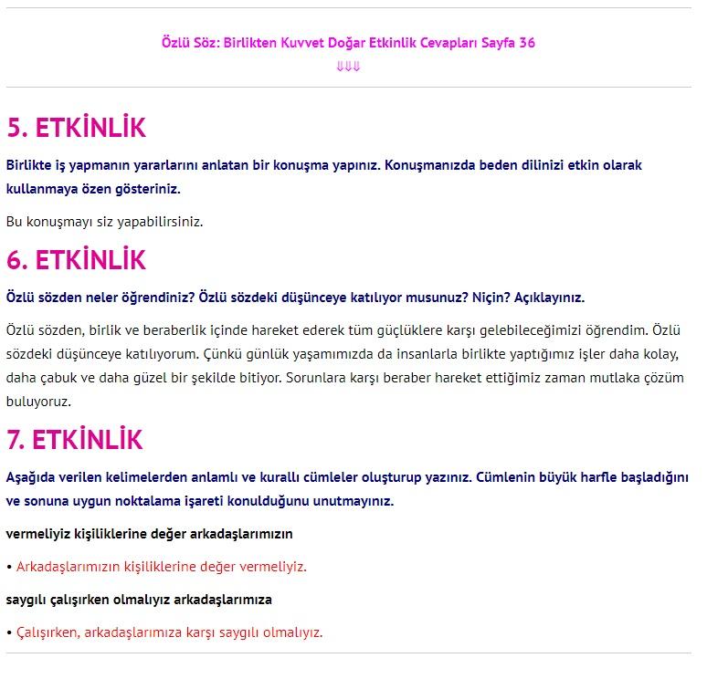 3. Sınıf Türkçe Çalışma Kitabı Cevapları Dikey Yayınları Sayfa 36