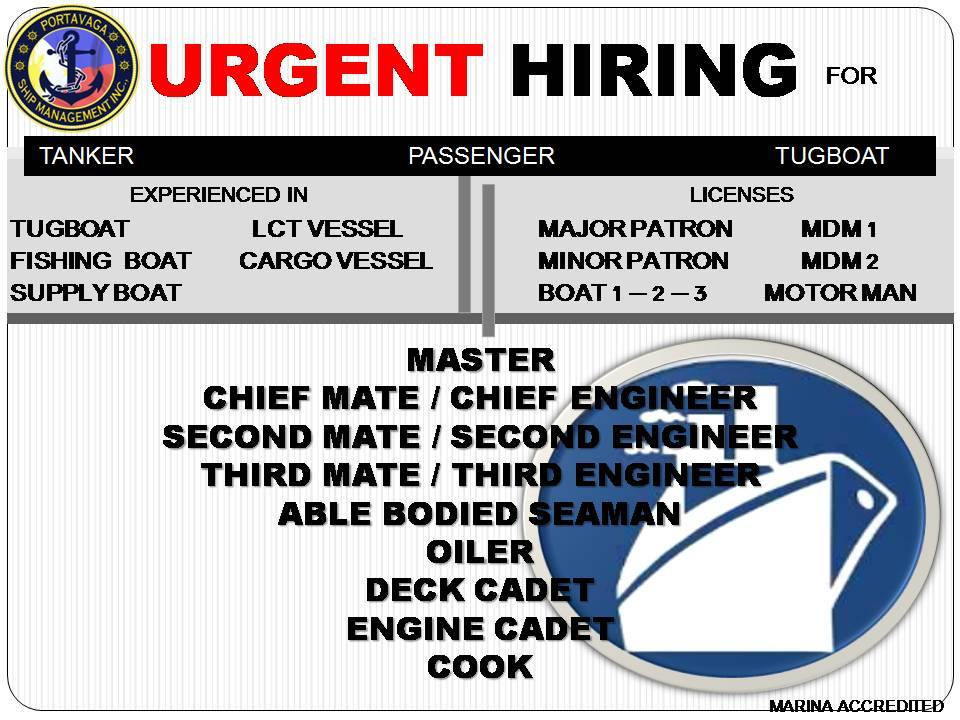 Urgent Crew For Tug, Passenger, Tanker Ship - Seaman jobs
