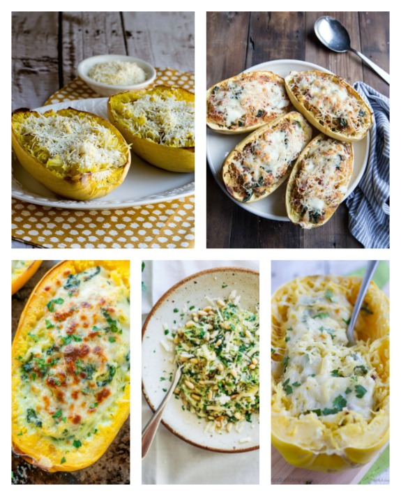 Cheesy Low-Carb Spaghetti Squash Recipes for Low-Carb Recipe Love on Fridays at KalynsKitchen.com