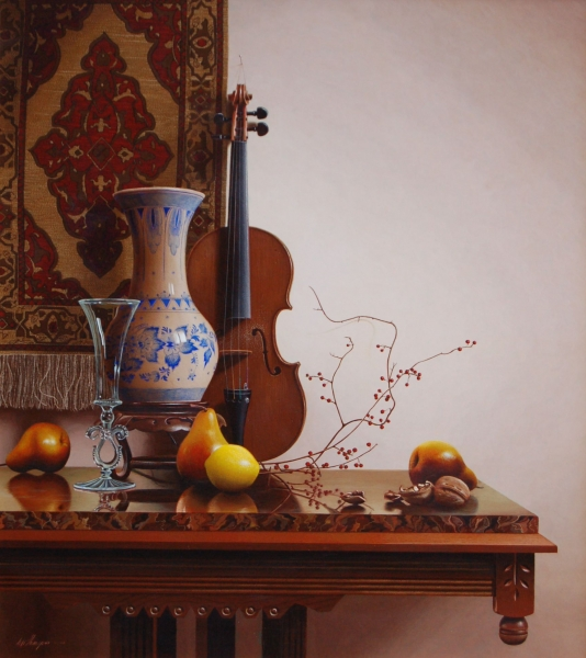 13-Still-Life-with-Delft-Vase-and-Lemon-Mark-Thompson-Photo-Realistic-Still-Life-Paintings-www-designstack-co