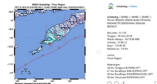 Gempa Hari ini 19 Oktober 2018 Guncang Kupang NTT, Magnitudo 5,1