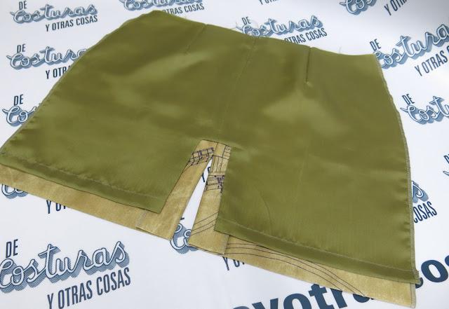 falda con abertura sencilla y forro paso a paso