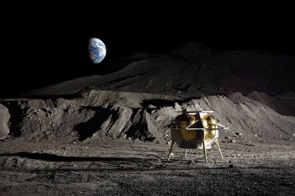 An artist's concept of Astrobotic's Peregrine lander on the surface of the Moon.