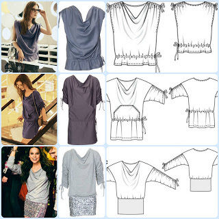 3 modelos diferentes de camiseta o minivestido