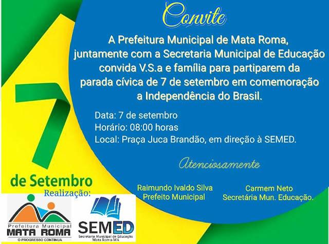 Convite - Parada Cívica em comemoração ao Dia da Independência do Brasil em Mata Roma