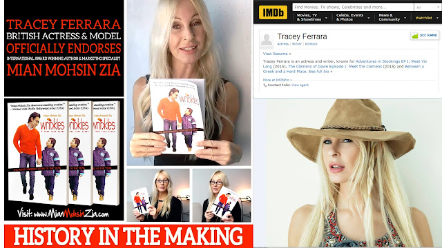 Tracee Ferrara, British Actress with her copy of Wrinkles by Mian Mohsin Zia