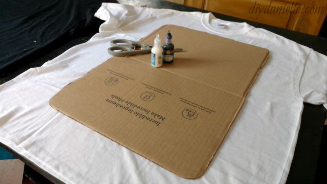 Cardboard template with other supplies.