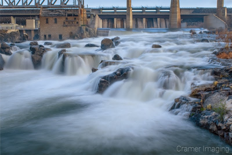 Cramer Imaging's fine art landscape photo of the American Falls reservoir spillway and Snake River full of silky smooth water