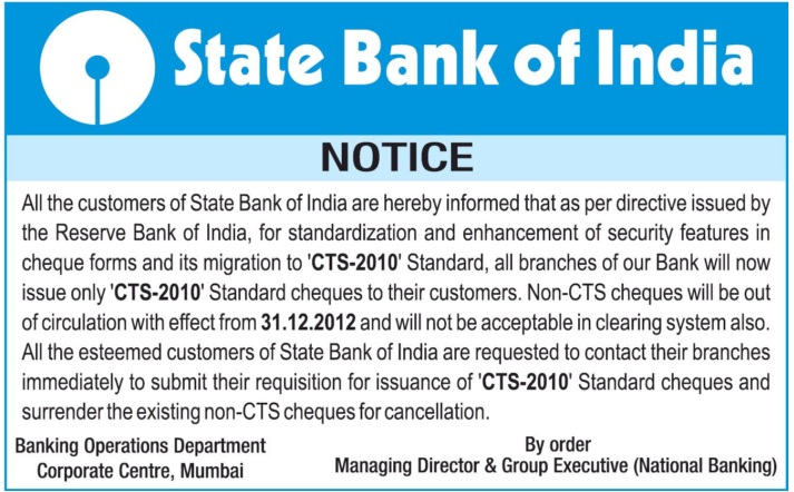 New Cheque Format in India from I January 2013