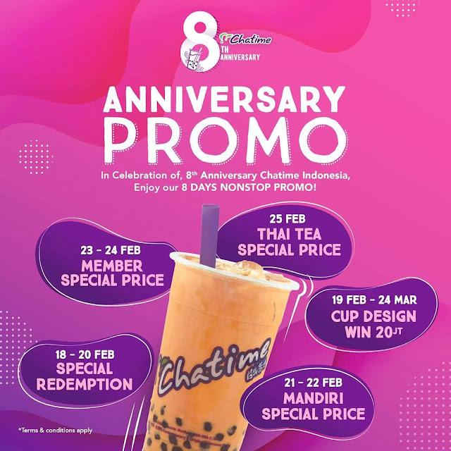 #Chatime - #Promo 8 Hari Di Perayaan Anniversary 8th NONSTOP (s.d 25 Feb 2019)