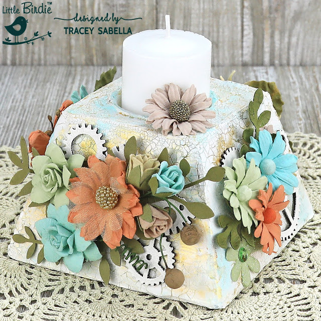 Floral Candle Holder with Patina Crackled Finish by Tracey Sabella for Little Birdie Crafts:  #traceysabella #littlebirdiecrafts #littlebirdieonline #littlebirdieflowers #diy #diyhomedecor #altered #candleholder #mixedmedia #rangerink #helmar #chipboard #heatembossing