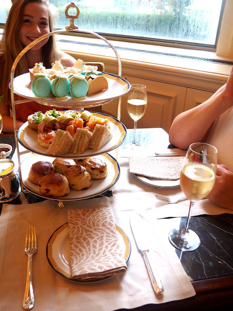 Afternoon Tea tier with champagne at The Peninsula, Hong Kong