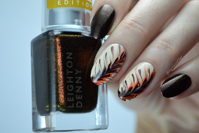 coffee pattern leaf gold shimmer autumn fall nails