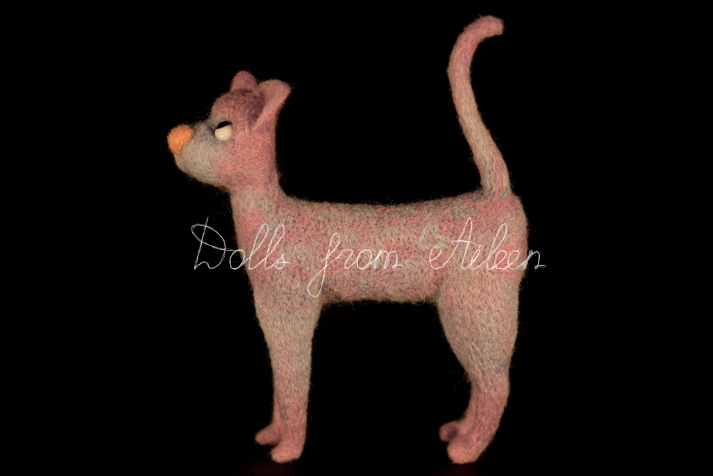 ooak needle felted cat, view from side