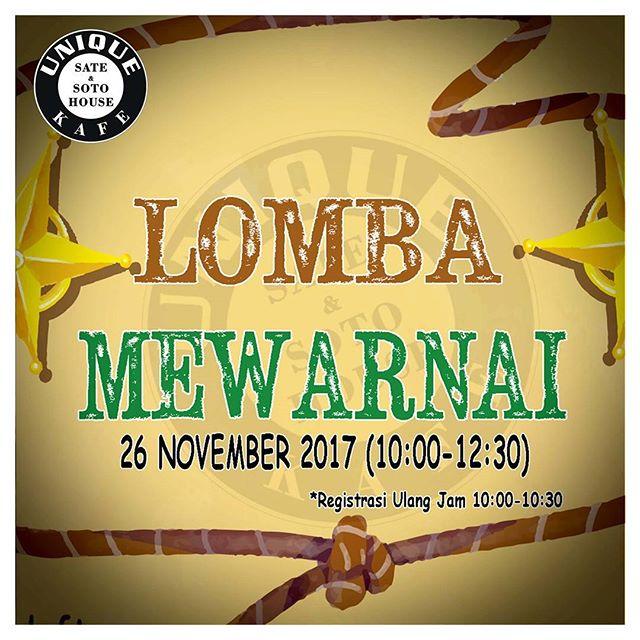 Lomba Mewarnai Untuk TK | Unique Kafe Pontianak | Deadline 23 November 2017