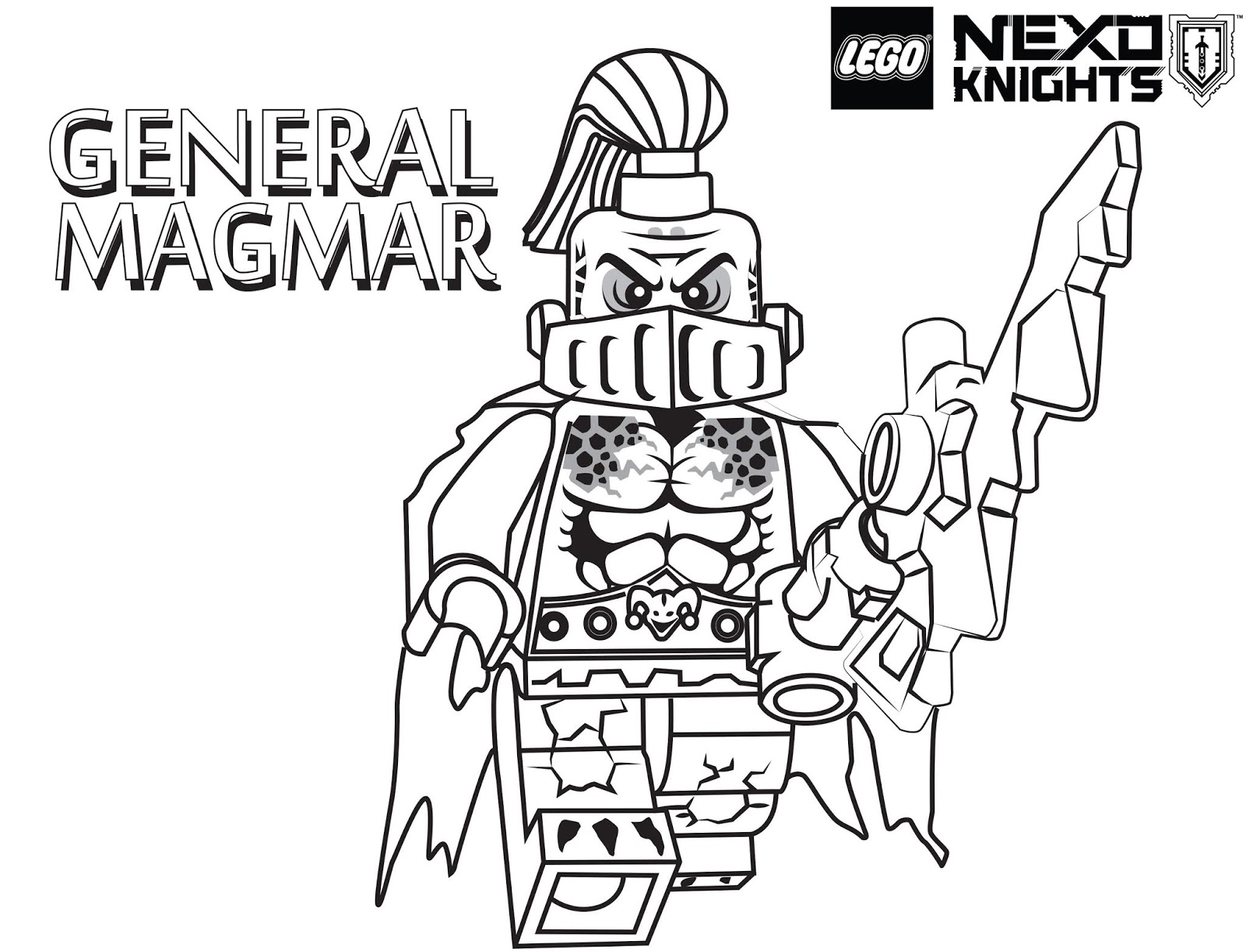 Scary General Magmar Knight Coloring Page Free Printable