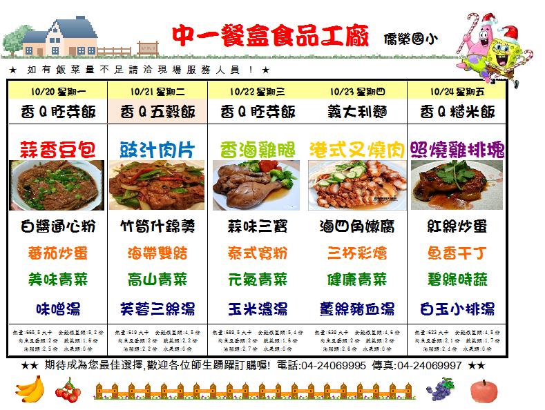 僑榮國小營養午餐教育網: 十月 2014