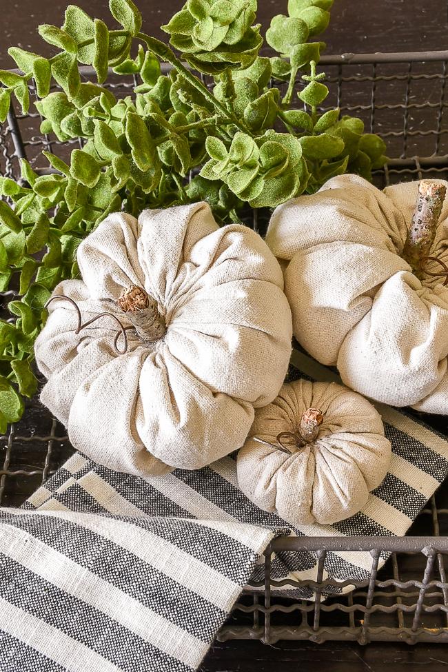 DIY rustic fabric pumpkins