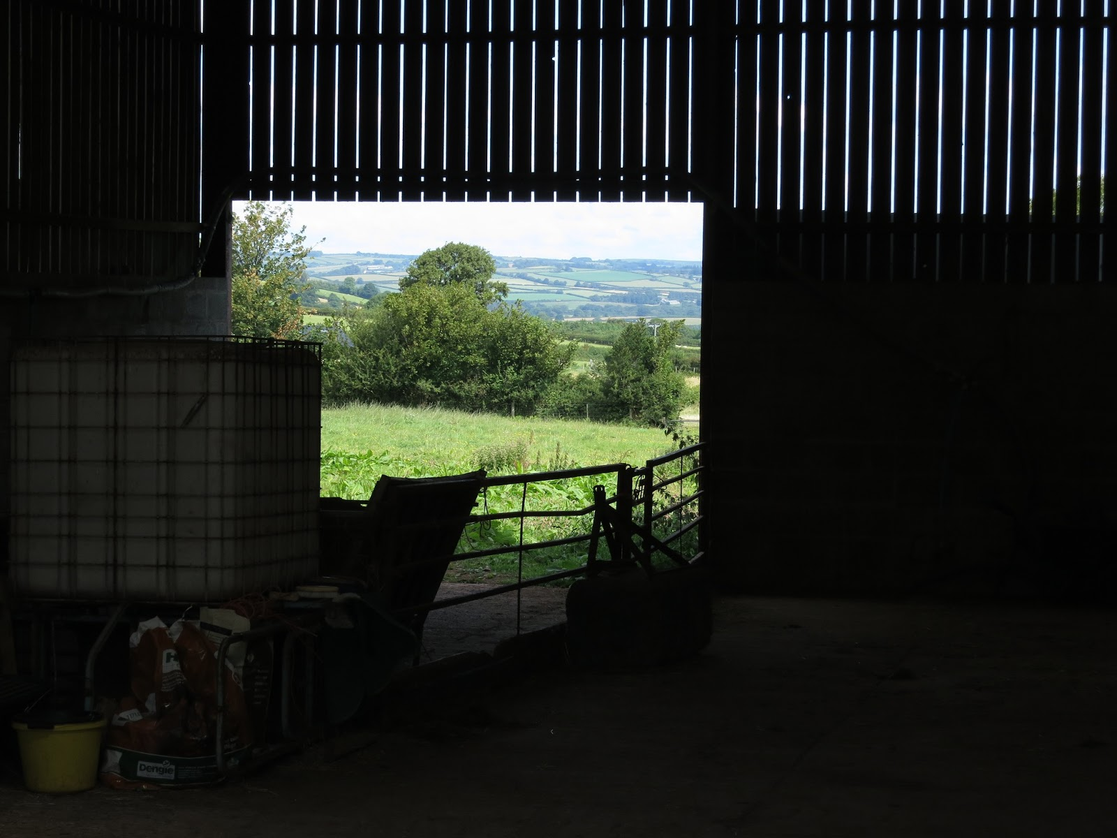 View of field and trees though open barn door with bits and bobs and gate in foreground