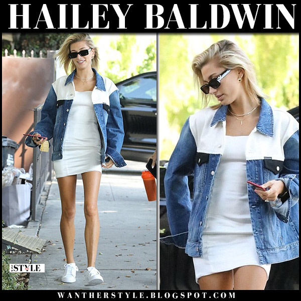 Hailey Baldwin in denim jacket calvin klein and white mini dress model street style august 31