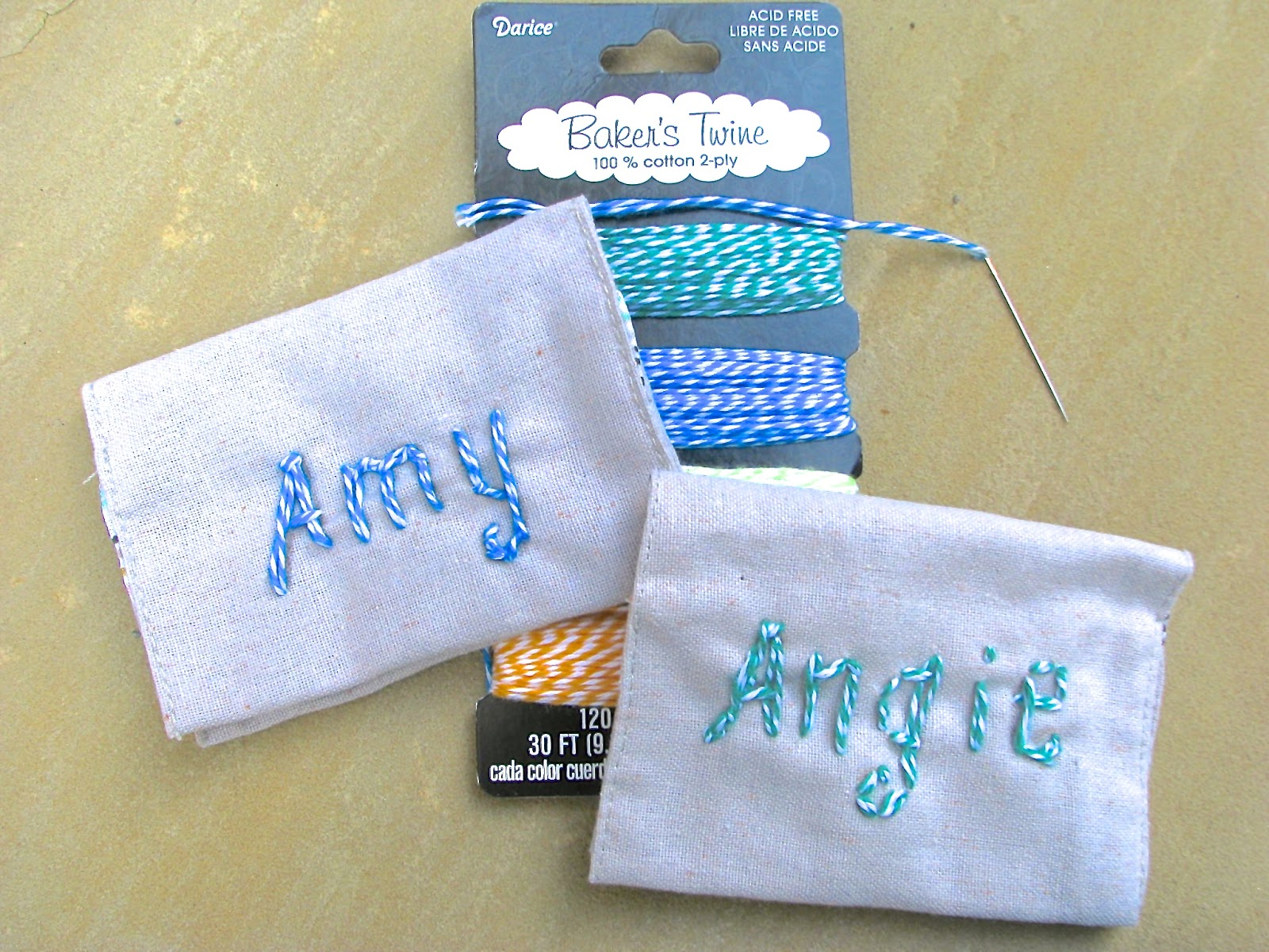 Card holder embroidered with baker's twine