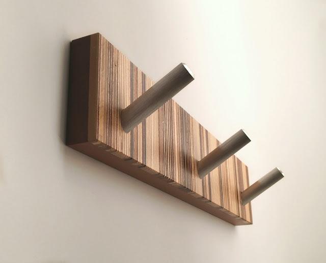 Modern Wood Striped Coat Rack with Metal Hooks
