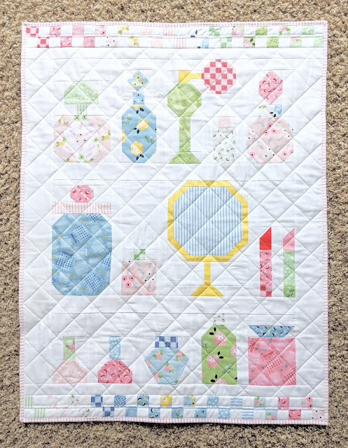 Free Vintage Vanity Quilt pattern by Heidi Staples of Fabric Mutt featuring Date Night fabric for Riley Blake Designs