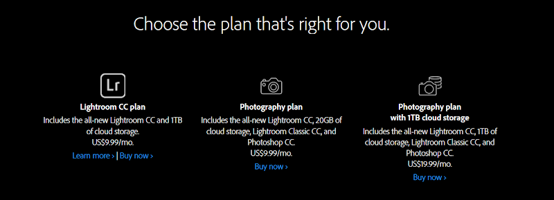 Adobe Creative Cloud Photography plans