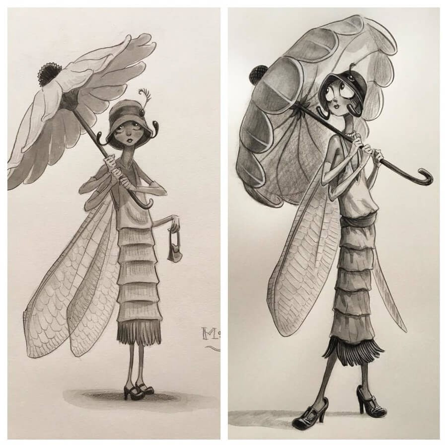 01-Studies-of-Ms-Fly-Tony-DiTerlizzi-www-designstack-co
