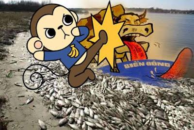 """Ôi! Tiến sĩ nhiều không kể hết! Chẳng... mò ra cá chết vì sao!? Cứ lăng xăng hội họp, phều phào: """"Xử hình sự nghiêm minh loài tảo!"""""""