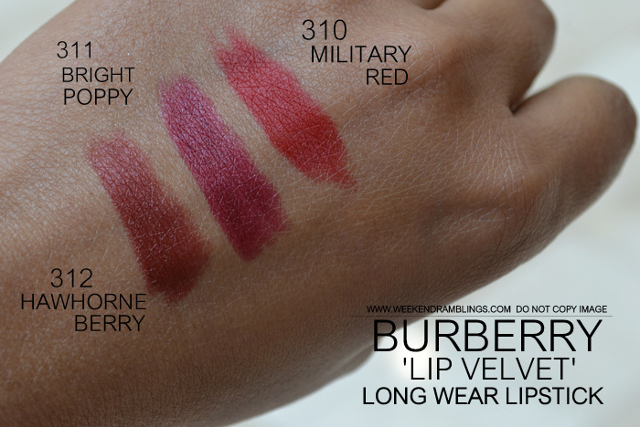 Burberry beauty makeup matte lip velvet lon wear lipstick darker indian skin blog swatches 312 hawthorne berry 311 bright poppy 310 military red