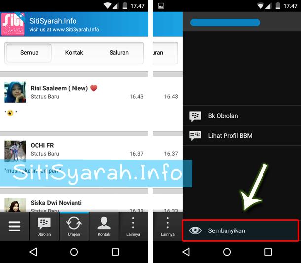 Menyembunyukan status update BBM
