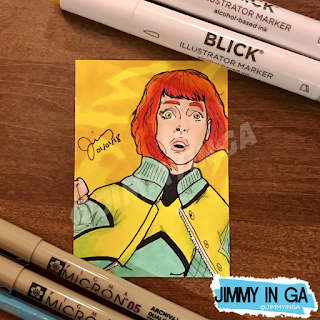 "Jean Grey - Copic Markers on 2.5"" x 3.5"" Sketch Card"