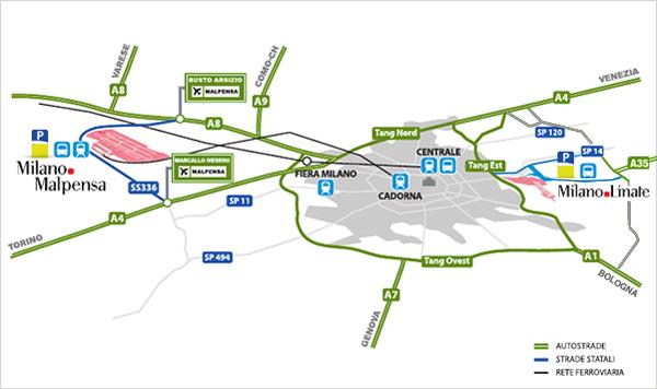 mapa de Milão com aeroportos e estações de trem