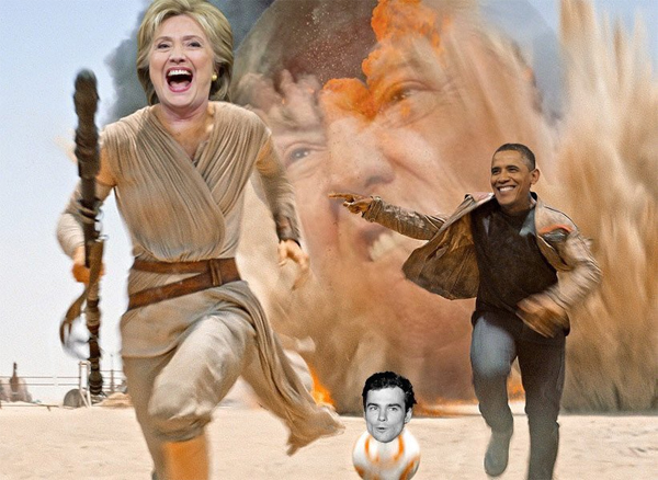 photoshop of the scene from Star Wars in which Rey, Finn, and BB8 are running away from an explosion; Rey is now Hillary Clinton, Finn is now President Obama, BB8 is now Tim Kaine, and the explosion is now the giant angry face of Donald Trump