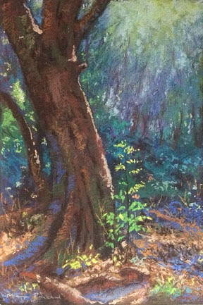Matheran landscape painting in soft pastels by Manju Panchal
