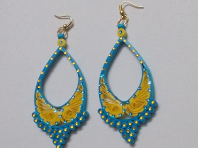 Long quilling earring designs for girls 2016 - quillingpaperdesigns
