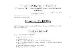 Lowongan Kerja S1 Posisi Staff Administrasi