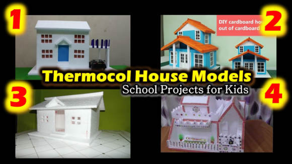 4 Thermocol House Models: Thermocol School Projects for Kids, School Projects, Crafts for Students, DIY crafts for kids,how to make thermocol house model video