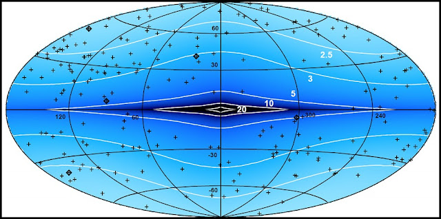 """A map showing the characteristic values of the """"jittering"""" of source coordinates around their true position caused by the Galaxy's """"gravitational noise"""", in microarcseconds (shown in contours) for a ten-years observation period. The crosses represent the positions of ICRF reference sources. Credit: mipt.ru"""