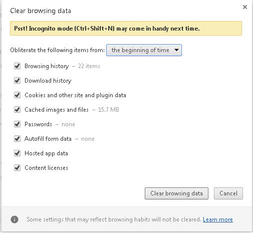Cara menghapus data perambaan di Google Chrome