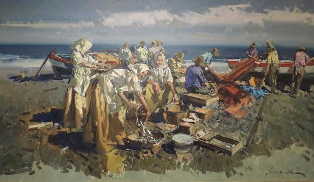 Eustaquio segrelles marine oil on canvas painting