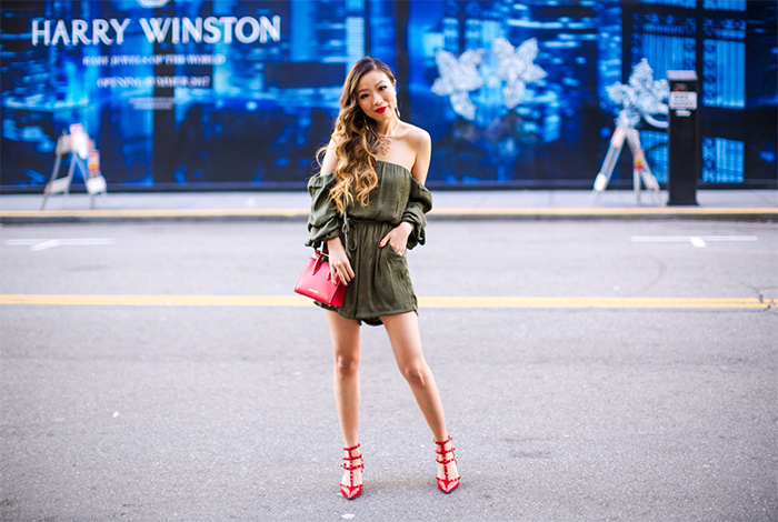 Bardot Caught Off the Shoulder Romper, khaki off shoulder romper, bardot off shoulder top, valentino rock stud heels, strathberry nano tote, kendra scott Morris Bib Necklace, kendra scott necklace, kendra scott lane linear earrings, kendra scott 2017 spring collection, valentines day outfit ideas, valentines day outfit, san francisco fashion blog, san francisco street style