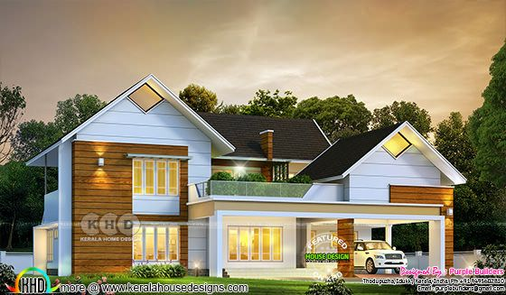 2995 sq-ft sloped roof home with 4 bedrooms
