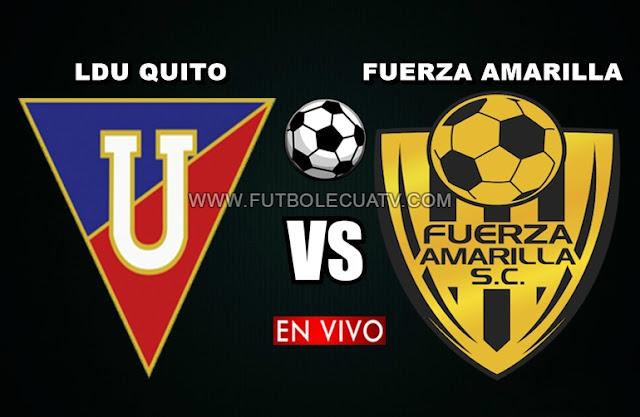 Liga de Quito recibe a Fuerza Amarilla en vivo 📺 iniciándose a las 13h00 horario local por la jornada treinta del campeonato ecuatoriano a efectuarse en el Estadio Rodrigo Paz Delgado, siendo el árbitro principal Henri Arizaga con emisión del canal oficial GolTV Ecuador.